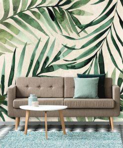 Stylowa tapeta z tropikalnymi gałązkami