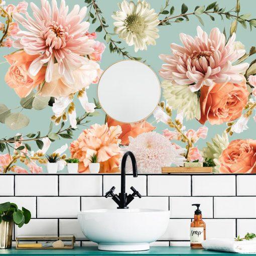 Subtelna foto-tapeta z różami do łazienki