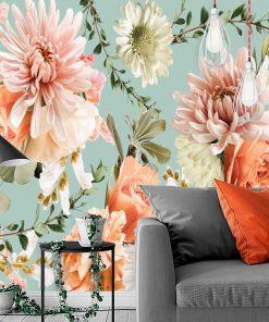 Subtelna foto-tapeta z różami do salonu