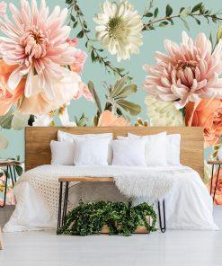 Subtelna foto-tapeta z różami do sypialni