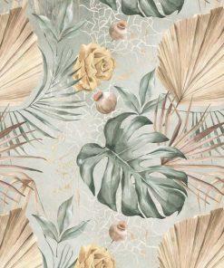 Subtelna tapeta w kwiaty i liście do biura