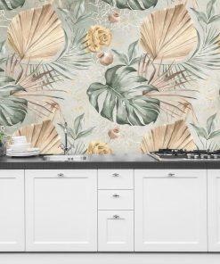 Subtelna tapeta w kwiaty i liście do kuchni