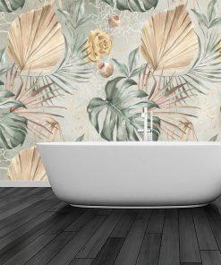 Subtelna tapeta w kwiaty i liście do łazienki