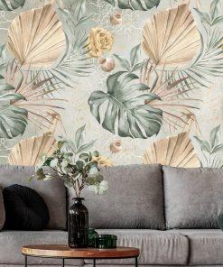 Subtelna tapeta w kwiaty i liście do salonu