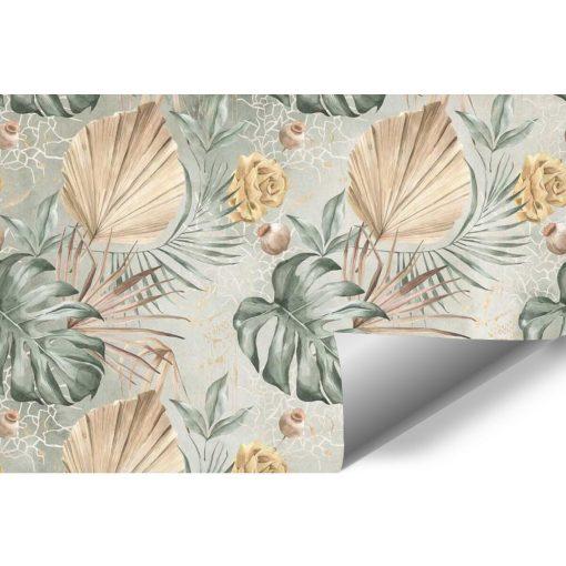 Subtelna tapeta w kwiaty i liście do sypialni