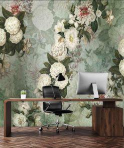 Szara tapeta w kwiaty do biura