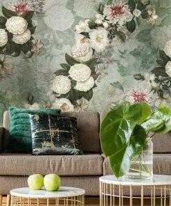 Szara tapeta w kwiaty do salonu