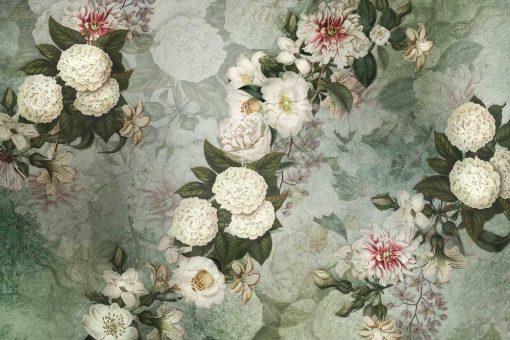 Szara tapeta w kwiaty