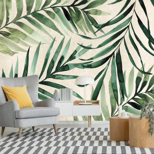 Tapeta palmowe liście do dekoracji salonu