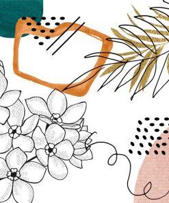 Tapeta w kolorach beżowym i brązowych z roślinami