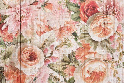 Tapeta w stylu rustykalnym z kwiatami i deskami