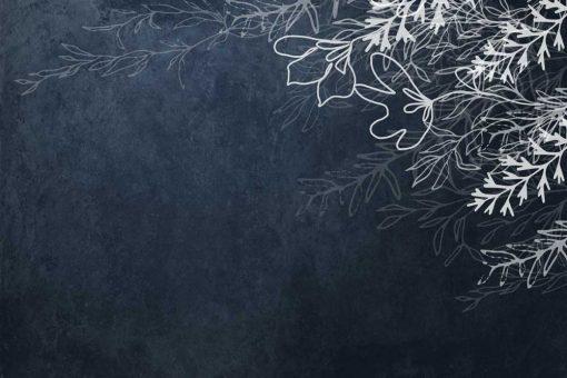 Tapeta z gałązkami na niebieskim tle