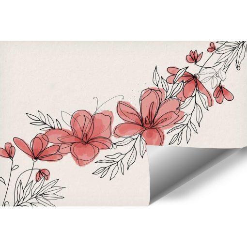 Tapeta z kwiatami w różu do montażu z salonie