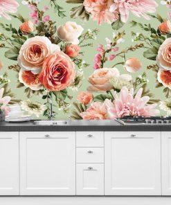 Tapeta z kwiatową kompozycją - Róże do kuchni