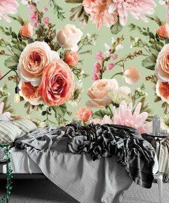 Tapeta z kwiatową kompozycją - Róże do sypialni