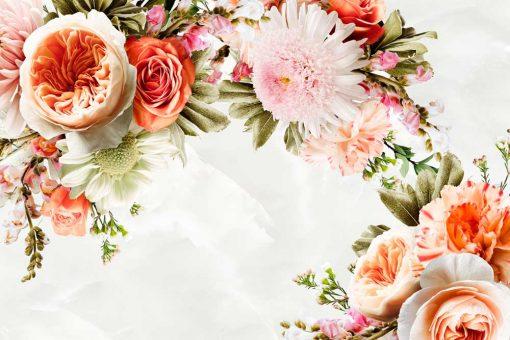 Tapeta z ogrodowymi kwiatami w pastelowych kolorach