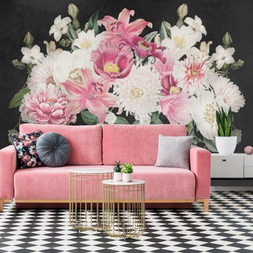 Tapeta z romantycznymi kwiatami do sypialni