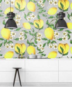Żółte cytrynki - Szara fototapeta do jadalni