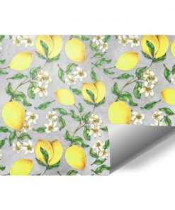 Żółte cytrynki - Szara fototapeta do kawiarni