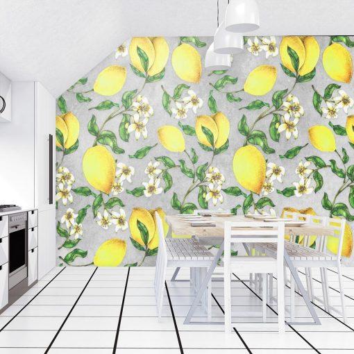 Żółte cytrynki - Szara fototapeta do kuchni