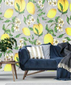 Żółte cytrynki - Szara fototapeta do salonu
