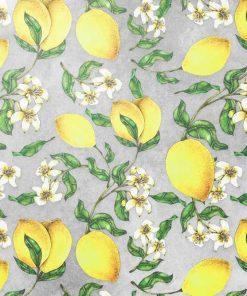 Żółte cytrynki - Szara fototapeta
