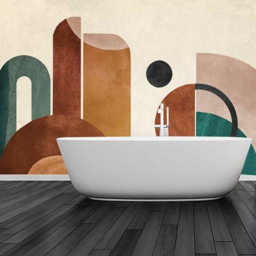 Tapeta z kolorową abstrakcją do łazienki