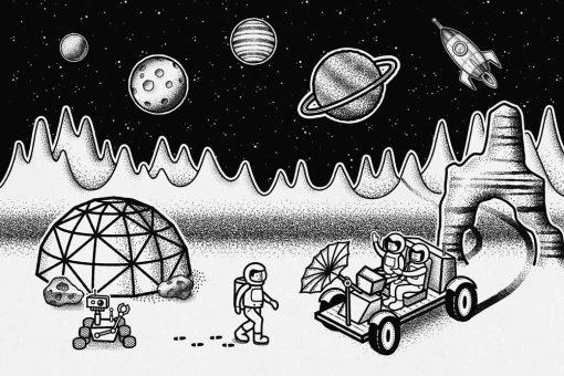 Czarno-biała fototapeta z kosmiczną stacją badawczą