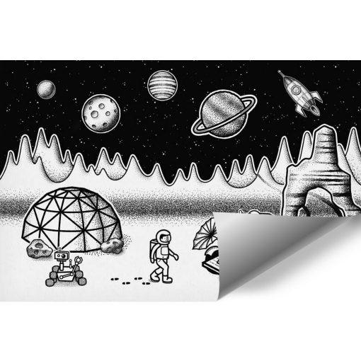 Czarno-biała tapeta dla dziecka z kosmosem