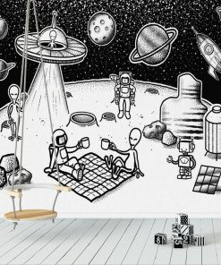 Foto-tapeta piknik na Księżycu do dekoracji przedszkola