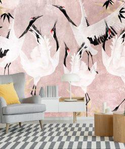 Foto-tapeta z żurawiami do dekoracji sypialni