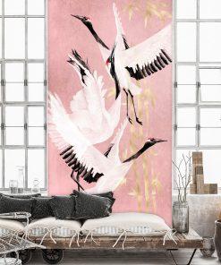 Foto-tapety z lecącymi żurawiami