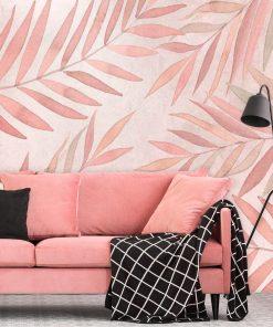 Fototapeta w różowe liście do salonu
