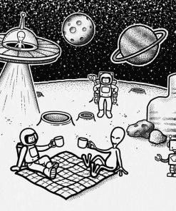 Fototapeta z piknikiem na Księżycu