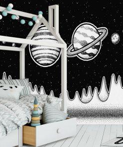 Fototapeta z planetami w czarno-białych barwach