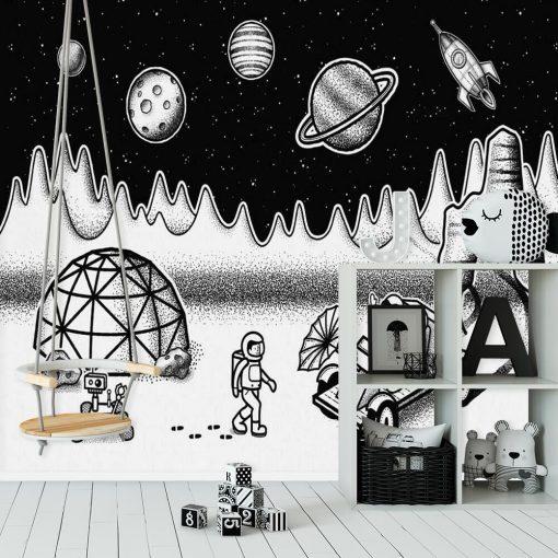 Tapeta czarno-biała ze stacją badawczą w kosmosie