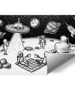 Tapeta z astronautami i ufoludkami
