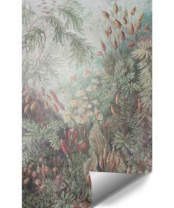 Tapeta z motywem lasu w stonowanych kolorach