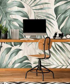 Tapeta z tropikalnymi liśćmi monstery do biura