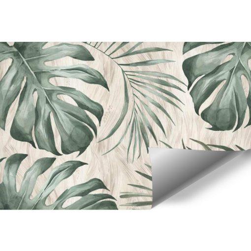Tapeta z tropikalnymi liśćmi monstery do salonu