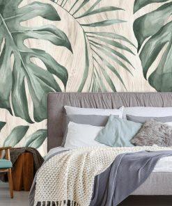 Tapeta z tropikalnymi liśćmi monstery do sypialni