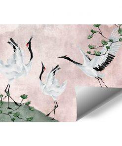 Tapeta z żurawiami na różowym tle